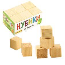 Деревянные кубики (неокрашенные), 6 шт.
