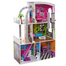 Кукольный домик 3 этажа с террасами (4 комнаты)