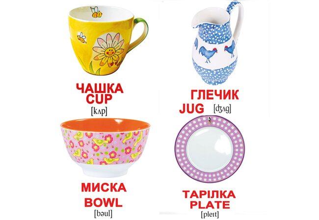 Мини-карточки украинско-английские «Посуда», 20