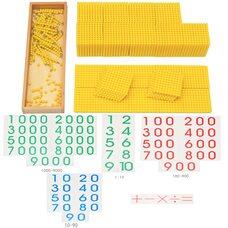 Комбинация золотого материала из бусин с числовым материалом