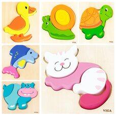 Объемные пазлы для самых маленьких от Viga Toys