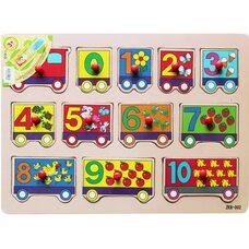 Рамка-вкладыш «Цифры-вагончики» от 0 до 10