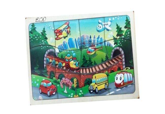 Деревянный пазл в рамке «Транспорт»