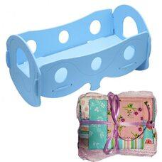Кроватка для кукол (голубая), с постельным бельем