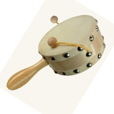 Деревянный барабан с ручкой
