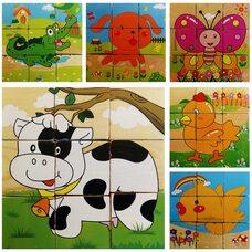 Деревянные кубики с домашними животными, 9 шт.
