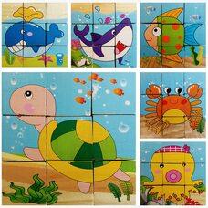 Кубики «Морские животные», 9 шт.
