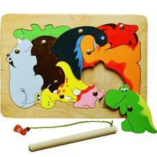 «Динозаврики», мозаика + рыбалка, 9 дет.