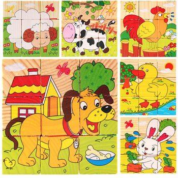Кубики «Домашние животные», 9 шт