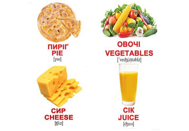 Мини-карточки украинско-английские «Еда», 40