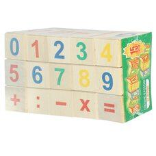 Деревянные кубики с цифрами и знаками, 15 шт