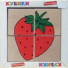 Кубики. Сложи рисунок «Фрукты-ягоды», 4шт.
