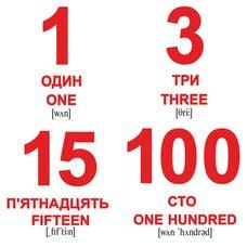 Мини-карточки украинско-английские «Числа», 40