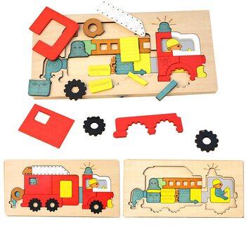 Мозаика «Пожарная машина», двухслойная, 34 дет