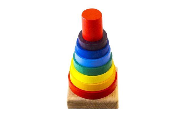 Пирамидка цветная, 8 дет.