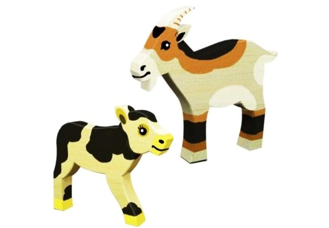 Деревянная игрушка-раскраска «Теленок и Козлик»