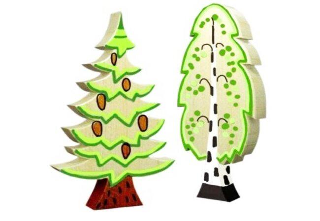 Деревянная игрушка-раскраска «Береза и елочка»