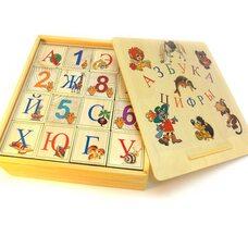 Русский алфавит-цифры, 16 кубиков.