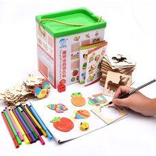 Детский набор для творчества с трафаретами