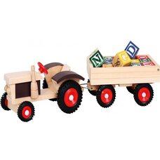 Трактор с прицепом и кубиками английского алфавита