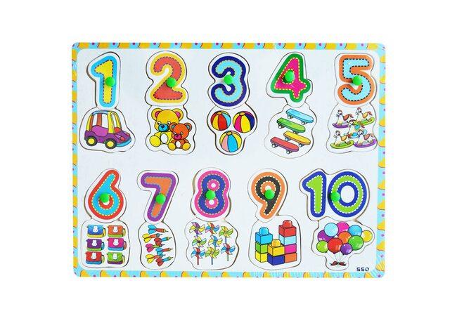 Рамка-вкладыш с ручкой «Цифры» от 1 до 10