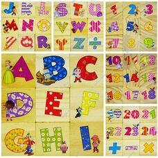 Английский алфавит - цифры, 9 кубиков.