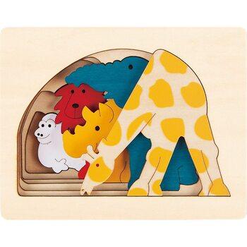 Пазл пятислойный «Зоопарк» (больше-меньше), 5 дет.