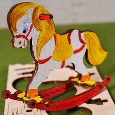 Сборная 3D-модель «Лошадка-качалка», 8 дет. (раскраска)