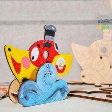 Сборная 3D-модель «Пароход», 15 дет. (раскраска)