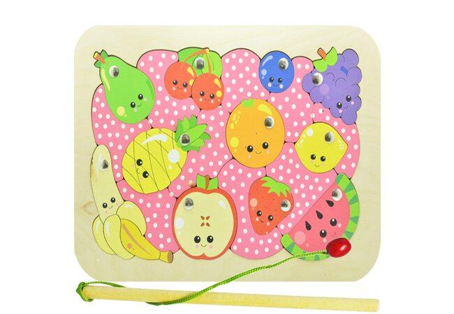 «Фрукты-ягоды», мозаика + рыбалка, 20 дет. (pink)