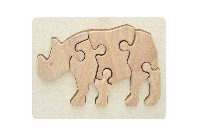 Объемный пазл в рамке «Носорог», 6 дет.