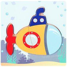 Вкладыши-пазлы объемные «Подводная лодка», 5 дет.