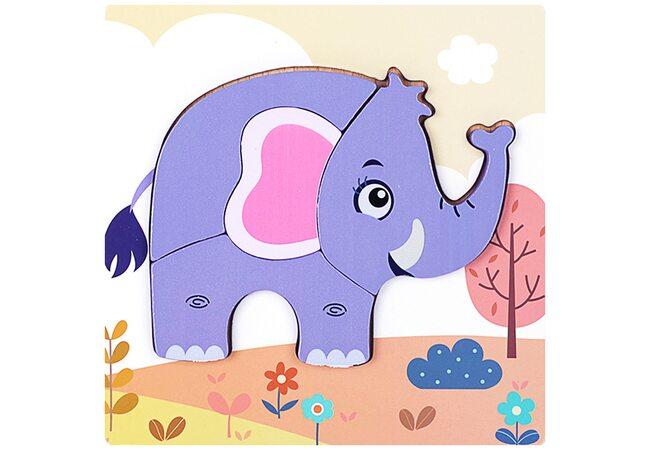 Вкладыши-пазлы объемные «Слоненок», 4 дет.