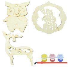 Ёлочные украшения: свинка, олень, снеговик