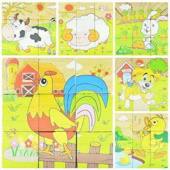 Домашние животные, кубики 9 шт.