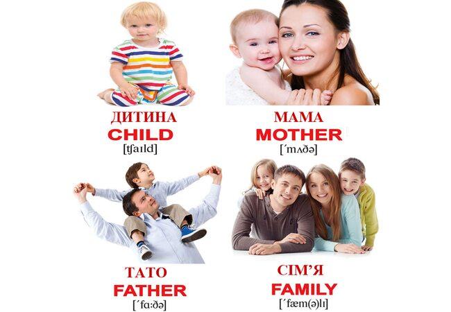 Мини-карточки украинско-английские «Семья», 40