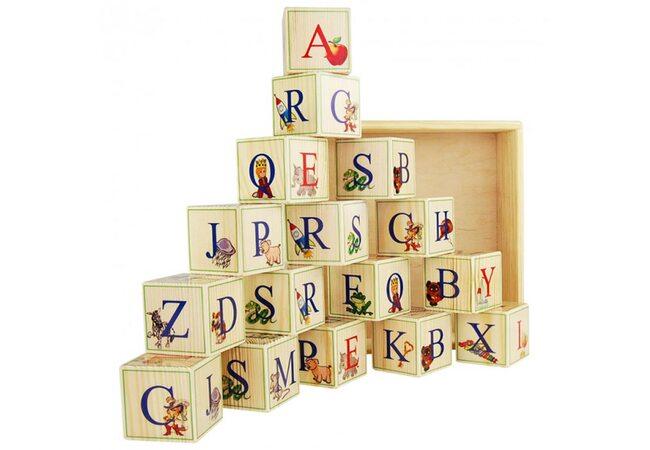 Английский алфавит, 16 кубиков (на подставке)