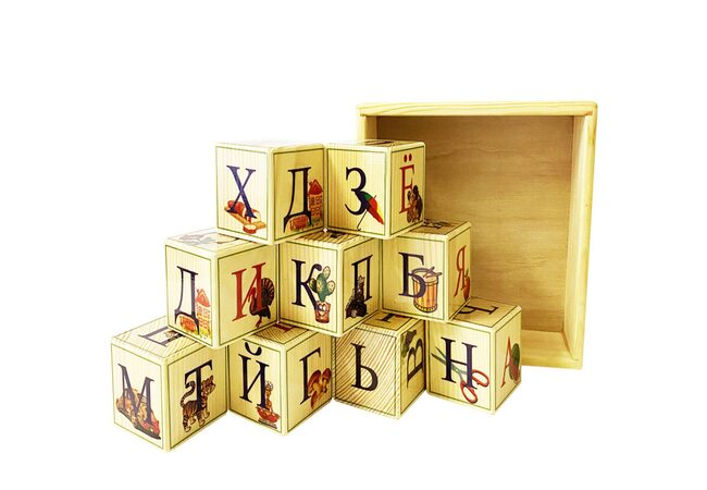 Английский алфавит, 9 кубиков (на подставке)