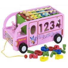Сортер «Музыкальный автобус» (розовый)