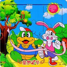 Пазл «Заяц и черепаха», 9 дет.