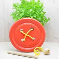 Деревянная шнуровка «Пуговица» (красная)