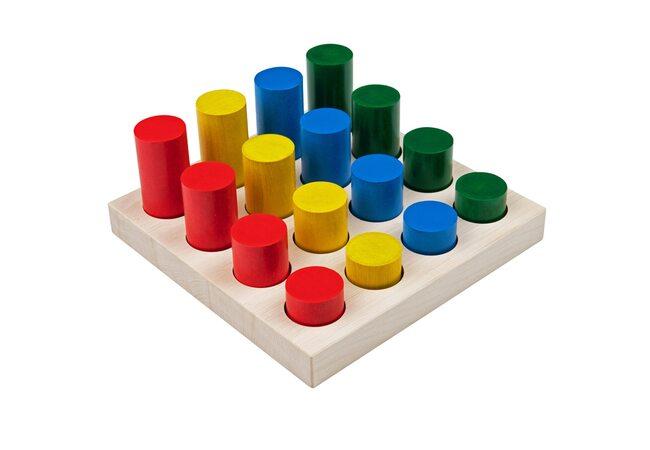 Игра «Цветные цилиндры»,  развивающая