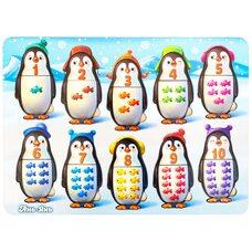 Вкладыши-пазлы для малышей «Посчитай-ка» (пингвины)