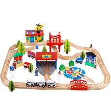 Деревянная железная дорога, 80 дет.