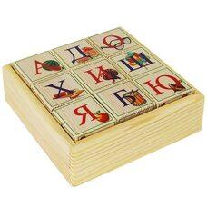Русский алфавит-цифры, 9 кубиков (на подставке)